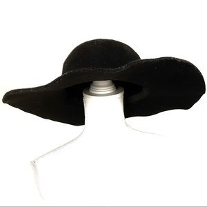 Faux Felt / Wool Black Floppy Hat  ~NO BRAND~